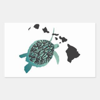 Tortuga de mar verde de Hawaii e islas de Hawaii Rectangular Pegatinas