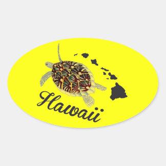 Tortuga de mar verde de Hawaii Pegatina Ovalada