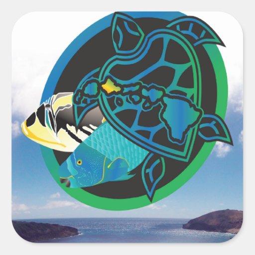 Tortuga de mar verde de Hawaii Pegatina Cuadrada