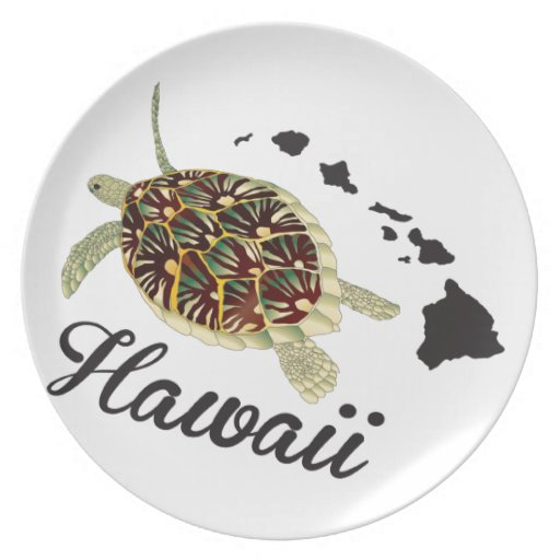 Tortuga de mar verde de Hawaii Plato De Comida