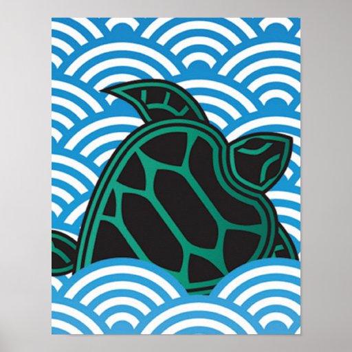 Tortuga de mar verde de Hawaii Póster