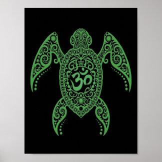 Tortuga de mar verde de OM en negro Póster