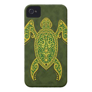 Tortuga de mar verde de oro compleja iPhone 4 cárcasas