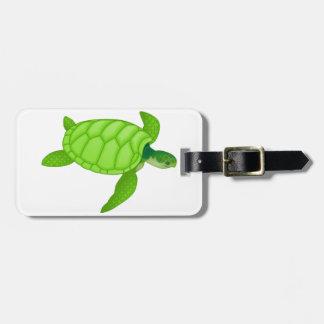 Tortuga de mar verde etiqueta para maleta