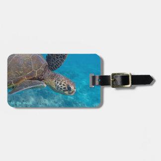 Tortuga de mar verde etiqueta de maleta