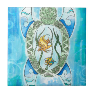 Tortuga de mar verde hawaiana de Hanu inspirada Azulejo Cuadrado Pequeño