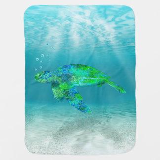Tortuga de mar verde mantas de bebé