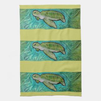 Tortuga de mar verde toalla de mano