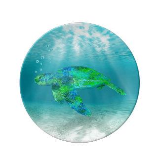 Tortuga de mar verde platos de cerámica