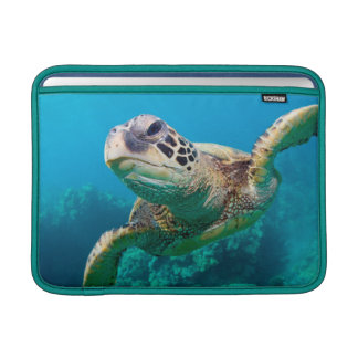 Tortuga de mar verde que nada sobre el arrecife de fundas MacBook