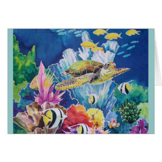 Tortuga de mar verde tarjeta de felicitación
