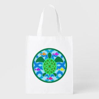 Tortuga de mar verde bolsa reutilizable
