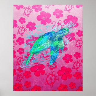 Tortuga de mar y Honu rosado Póster