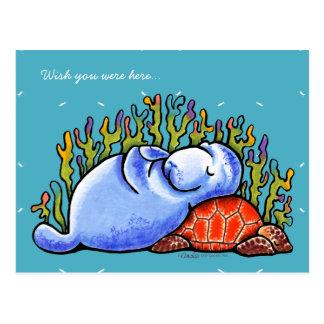 Tortuga de mar y Manatee Postales