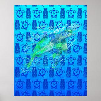 Tortuga de mar y Tiki azul Póster