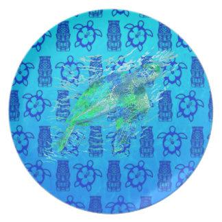 Tortuga de mar y Tiki azul Platos
