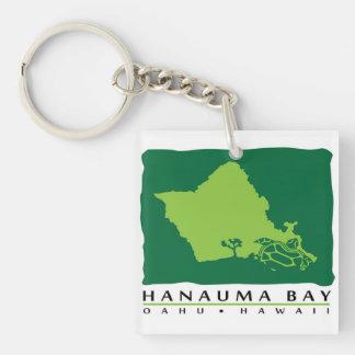 Tortuga de Oahu Hawaii de la bahía de Hanauma Llavero Cuadrado Acrílico A Doble Cara