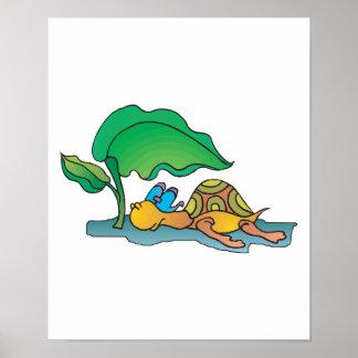 tortuga de reclinación divertida posters