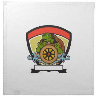 Tortuga de Ridley en el escudo del timón retro Servilletas Imprimidas