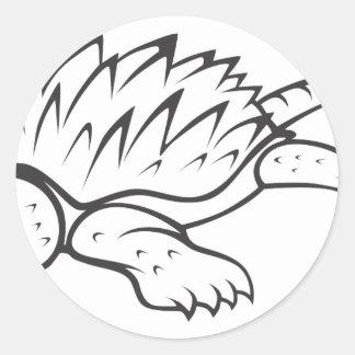Tortuga de rotura enojada de cocodrilo pegatina redonda