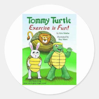Tortuga de Tommy: ¡El ejercicio es diversión! Pegatina Redonda