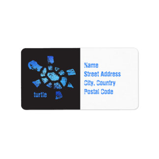 Tortuga del agua azul etiquetas de dirección