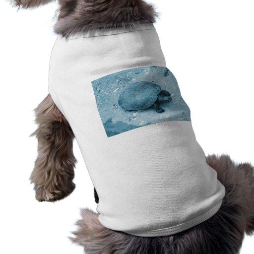 tortuga del agua en reptil azul del tinte del banc playera sin mangas para perro