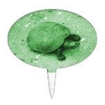 tortuga del agua en reptil del verde del banco decoración de tarta