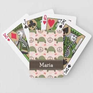 Tortuga del amor de la paz cartas de juego