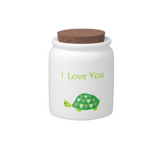 Tortuga del amor jarra para caramelo