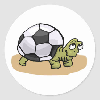 Tortuga del balón de fútbol etiqueta