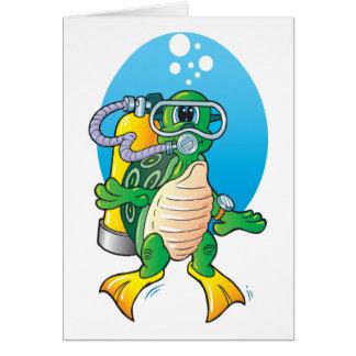 Tortuga del equipo de submarinismo del dibujo anim tarjeta de felicitación