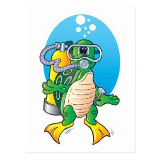 Tortuga del equipo de submarinismo del dibujo postal