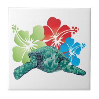 Tortuga del hibisco de Hawaii Azulejo Cuadrado Pequeño