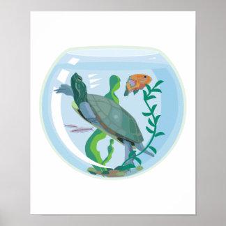 tortuga del mascota en cuenco de los pescados posters