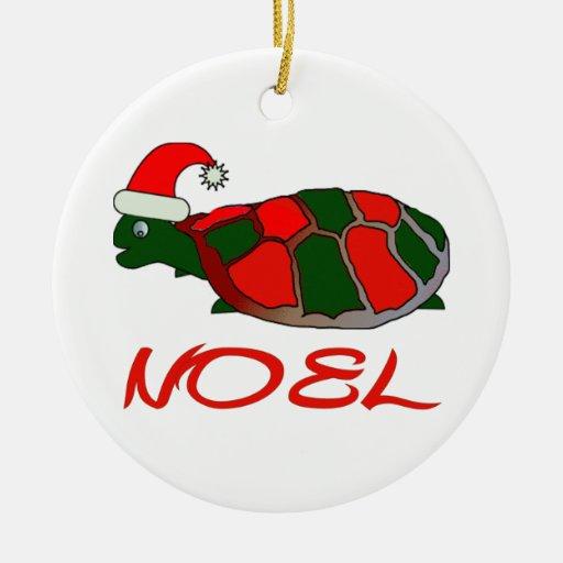 tortuga del noel adorno redondo de cerámica