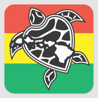 Tortuga del reggae de Hawaii Colcomanias Cuadradass