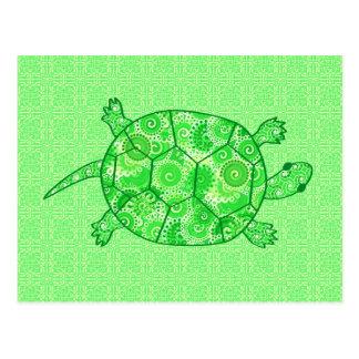 Tortuga del remolino del fractal - cal y verde postal