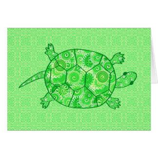 Tortuga del remolino del fractal - cal y verde tarjeta pequeña