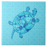 Tortuga del remolino del fractal - cobalto y azule