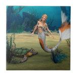 Tortuga del und de la sirena azulejo ceramica