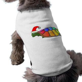 Tortuga divertida con el gorra de Santa Camisetas De Mascota