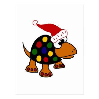 Tortuga divertida en arte del navidad del gorra de tarjeta postal