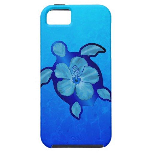 Tortuga e hibisco azules de Honu iPhone 5 Case-Mate Cárcasa