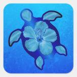 Tortuga e hibisco azules de Honu Pegatinas Cuadradas