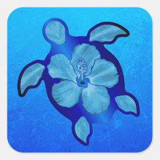 Tortuga e hibisco azules de Honu Pegatina Cuadrada