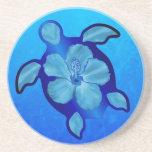 Tortuga e hibisco azules de Honu Posavasos Cerveza