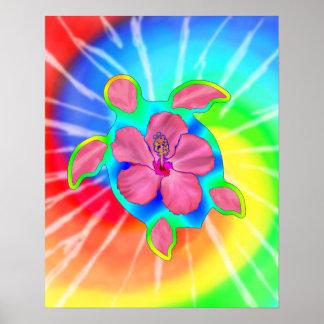 Tortuga e hibisco tropicales de Honu Poster