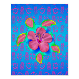 Tortuga e hibisco tropicales de Honu Póster