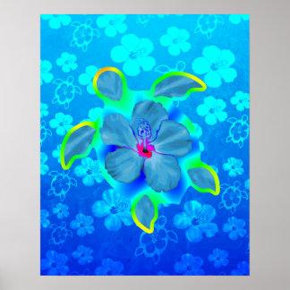 Tortuga e hibisco tropicales de Honu Posters